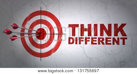 Success Learning concept: arrows hitting the center of target, Red Think Different on wall background, 3D rendering