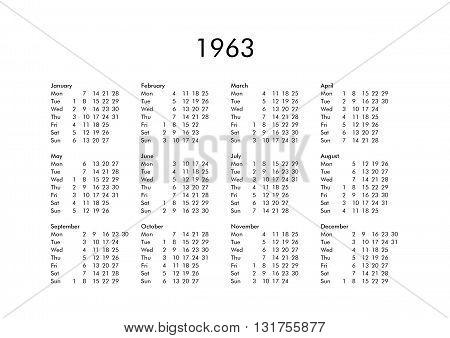 Calendar Of Year 1963