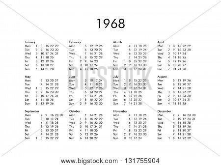 Calendar Of Year 1968