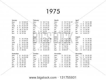 Calendar Of Year 1975