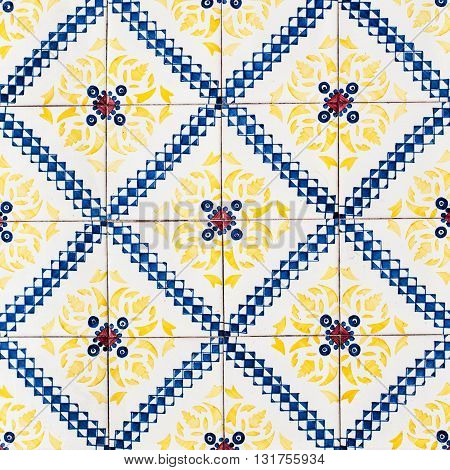 Vintage Colorful Moroccan Portuguese tiles Beautiful Art Texture / Traditional ornate portuguese decorative tiles azulejos / Abstract colorful wall background.