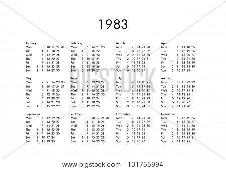 Calendar Of Year 1983