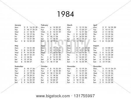 Calendar Of Year 1984