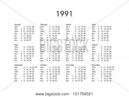 Calendar Of Year 1991