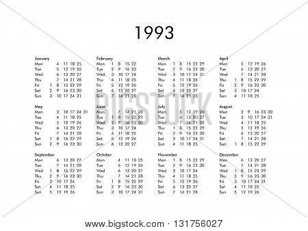 Calendar Of Year 1993