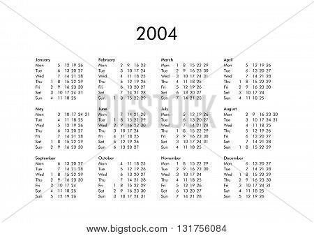 Calendar Of Year 2004