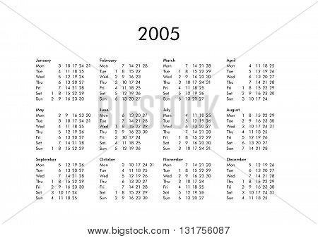 Calendar Of Year 2005