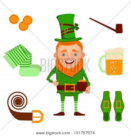 St. Patrick's Day vector design elements set. Vector illustration of funny cartoon leprechaun and design decoration items on Happy Saint Patrick's Day.