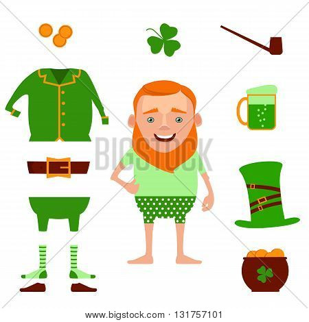 St. Patrick's Day vector design elements set. Vector illustration of funny cartoon leprechaun and design decoration items on Happy Saint Patrick's Day. Leprechaun suit