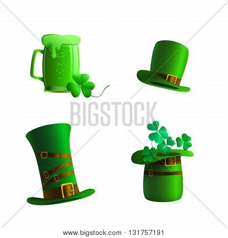 Set of a leprechaun hat and glass of beer on a white background. Green hat leprechaun and glass of beer for St. Patrick's Day. Elements isolated for a card or illustration to the St. Patrick's Day