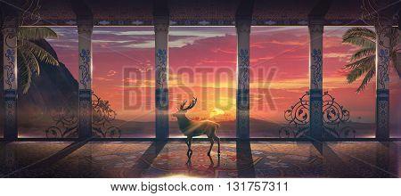3D illustration , orient sunshine , pink sky