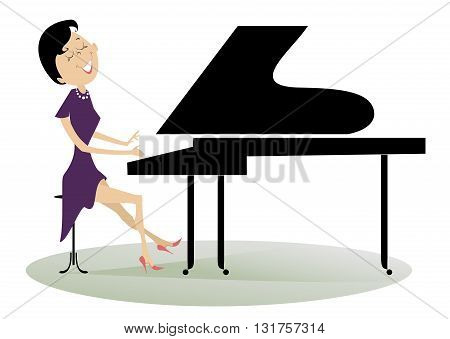 Pianist woman. Pianist is playing music with inspiration