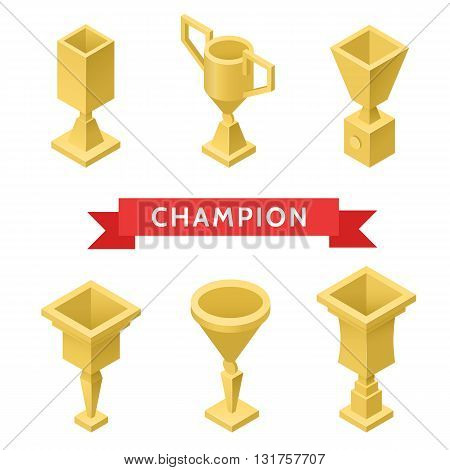 Trophy cup isometric set of success award winner isolated vector illustration. Award trophy set on white background.
