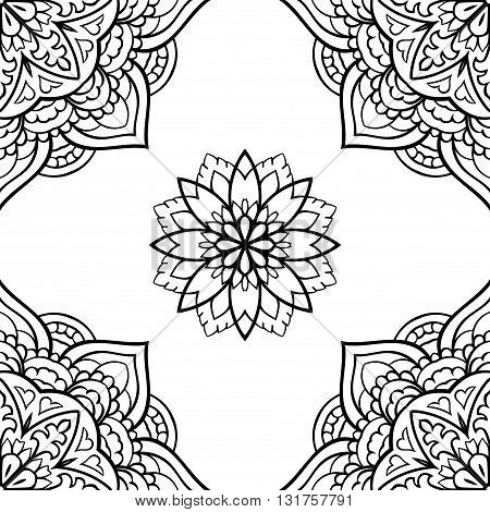 Oriental seamless pattern of mandalas. Vector black and white background. Template for carpet wallpaper textile shawl.
