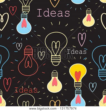 Seamless graphic pattern with light bulbs for ideas