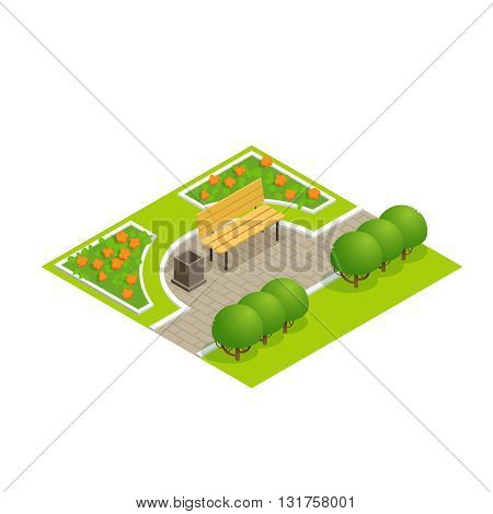Park concept with trees bench and sidewalk in 3d flat isometric style. Part of the urban street. Vector illustration.