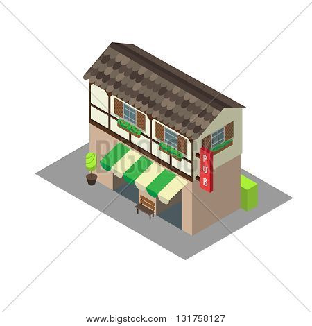 Vector isometric building pub or cafe. Isometric icon or infographic element pub or cafe on white background.