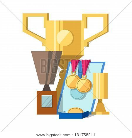 Vector illustration of set of awards medals diplomas and award certificate. Gold and silver cups award trophy and medals for the winner. Vector stok illustration