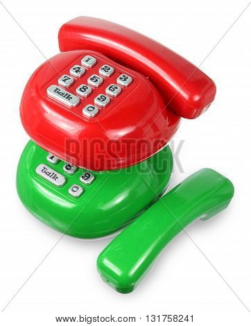 Plastic Toy Phones on Isolated White Background