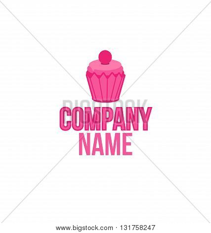 Cake shop logo, sweet cupcake with pink cream retro dessert emblem template design element. Mockup birthday or wedding invitation