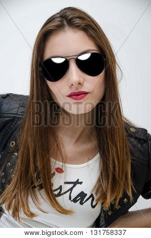 Young Woman fashion model with sunglasses portrait