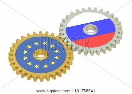 Russia and EU flags on a gears 3D rendering isolated on white background