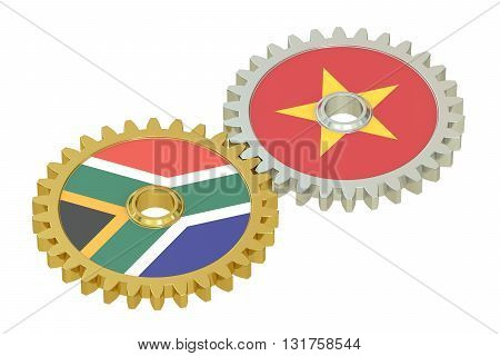 South Africa and Vietnam relations concept flags on a gears. 3D rendering isolated on white background