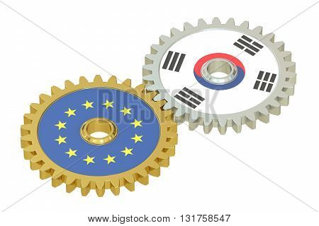 South Korea and EU flags on a gears 3D rendering isolated on white background