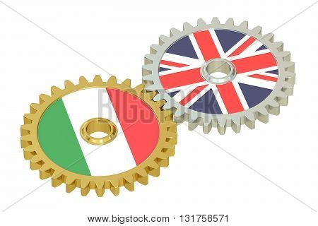 United Kingdom and Italy relations concept flags on a gears. 3D rendering isolated on white background