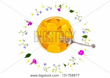 Sweet Candied Fruit Jelly on White Studio Photo