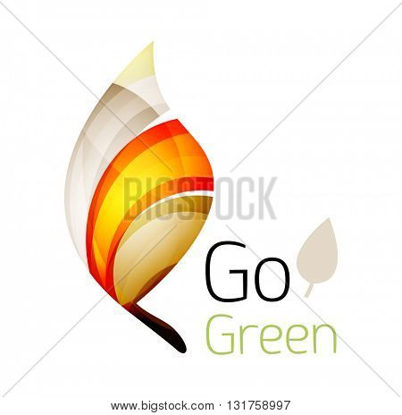 Geometric abstract leaf logo. Vector colorful icon