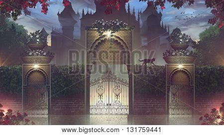 3D illustration , orient architecture, castel garden
