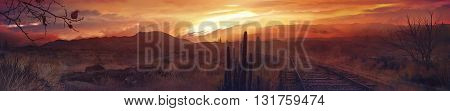3D illustration, Western desert, cactus, sunshine, big sun
