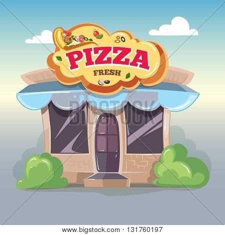 Pizza. Facade of pizzeria. Vector illustration isolate on light background. Pizza illustration.