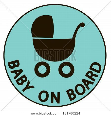 Baby on board vector illustration sign black silhouette background