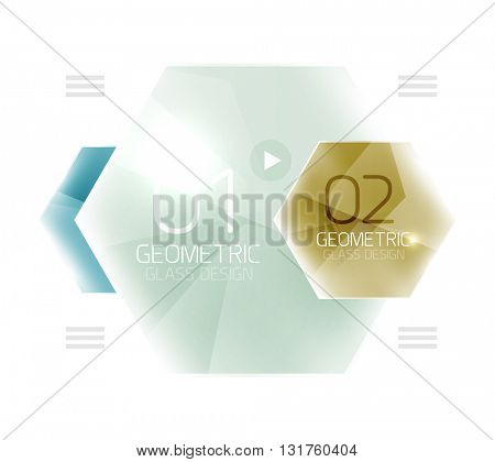 Colorful hexagon web box. Glossy abstract geometric background
