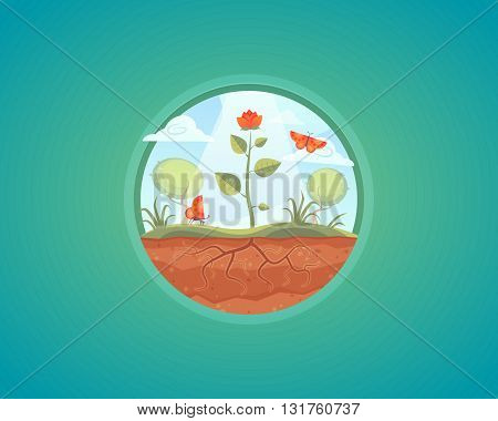 Vector growing plant illustration. Flower growth from ground. Cartoon concept design.