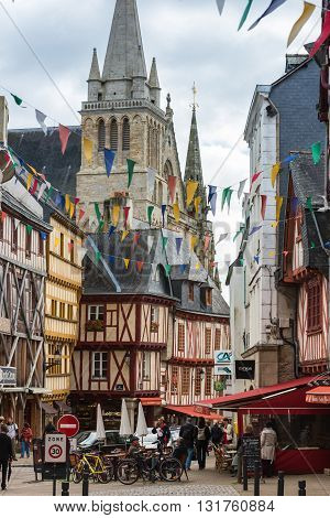 Street With Colorful Houses In A Medieval City Of Vannes, France