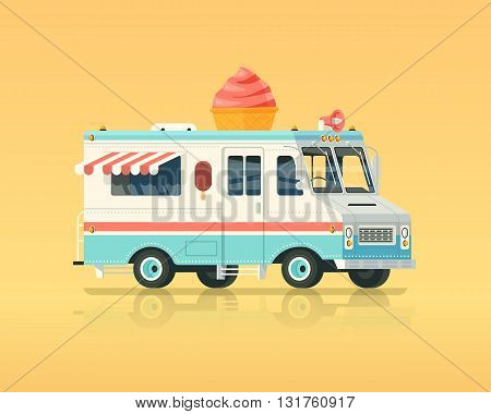 Vector colorful flat ice cream truck. Vintage colors concept illustration.