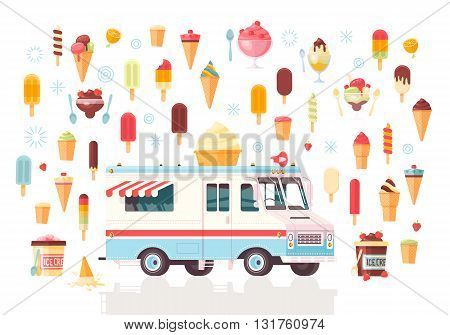 Flat vector ice cream icons and ice cream truck. Colorful premium concept illustration. Isolated on white background.