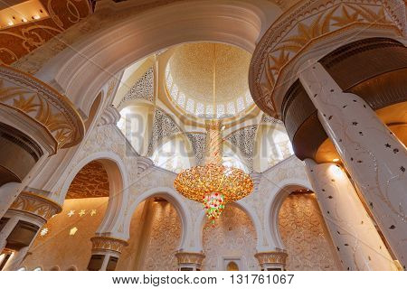 ABU DHABI, 30 MARCH 2016. Editorial Photograph of Main Prayer Hall of Sheikh Zayed Grand Mosque.  The mosque was completed in 2007 and is the largest in the UAE.