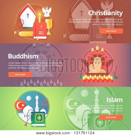 Christianity. Buddhism religion. Buddhistic culture. Islam religion. Muslim culture. Religion and confessions banners set. Vector design concept.
