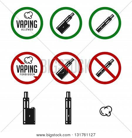 Set of vape signs and icons. Vaping allowed sign. Vaping forbidden sign. Isolated on white background. Vector illustration.