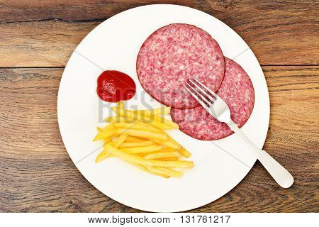 French Fries with Ham, Ketchup Studio Photo