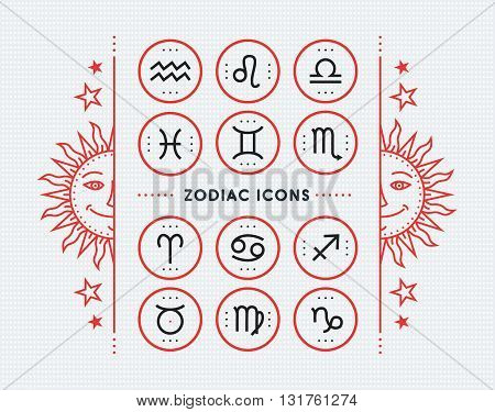 Zodiac icon collection. Sacred symbols set. Vintage style design elements of horoscope and astrology purpose. Thin line signs isolated on bright dotted background. Vector collection.
