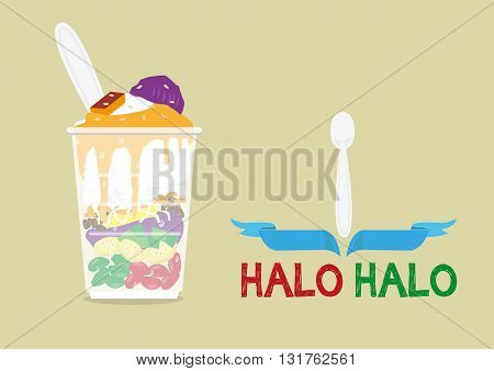Halo-Halo loosely means Mixture is a popular icy dessert in the Philippines with a lot of ingredients mixed for a delicious sweet fare. Editable Clip Art.