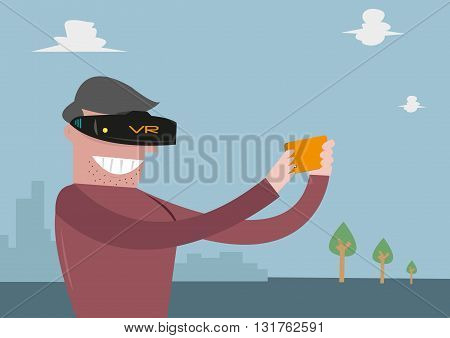 Virtual Reality Revolution concept. Man wears VR for mobile phones. Editable Clip Art.