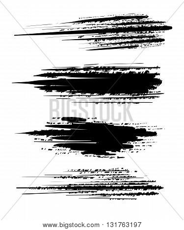 Vector Ink Blots On A White Background Brush Collection Grunge