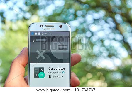 MONTREAL CANADA - MAY 23 2016 : Google Calculator application on Samsung S7 screen. Calculator provides simple and advanced mathematical functions in a beautifully designed app.
