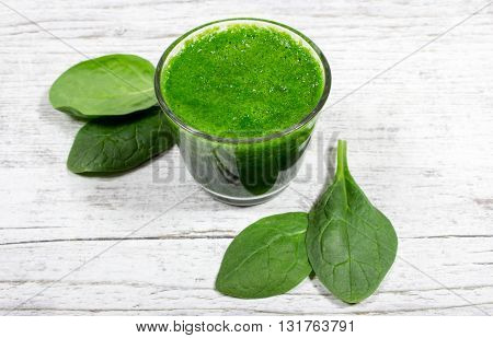 Slimming Cocktail With Spinach. Glasses Of Spinach Juice.